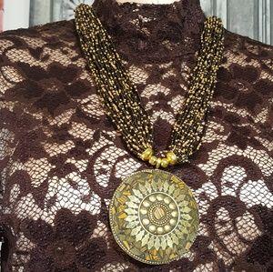 Multi strand beaded necklace disc pendant NEW